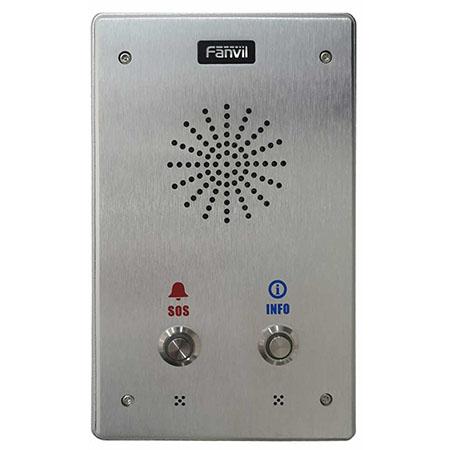 2 Account SIP, Audio HD, IP65 - IK10, PoE</br>Include due contatti di uscita e due contatti in ingresso.</br>