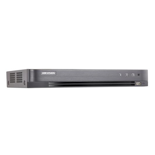DVR Hybrid 8 CH self-adaptive HDTVI  3MP  /AHD 2MP / HD CVI 2MP/IP/CVBS, accetta fino a 4 telecamera IP a 6MP,fino a 12 Canali. risoluzione analogica TVI fino a  3MP@15Fps/2MP Lite@25Fps, compressione video H.265+/H.265/H.264+/H.264, uscita video HDMI - VGA - CVBS, I/O audio 1/1, I/O Allarmi 8/4. 1 RJ45 10M/100M, protocolli di rete TCP/IP, PPPoE, DHCP, Hik-Connect, DNS, DDNS, NTP, SADP, NFS, iSCSI, UPnP, HTTPS, ONVIF. Supporta controllo PTZ via Omnicat, sino a 128 connessioni simultanee, supporta accesso a Hik-Connect. 2 HDD sata fino a  10TB , 2 porte USB 2.0, 1 RS485 ,alimentazione 12VDC, temperatura di funzionamento -10 °C to +55 °C, assorbimento 7.5W. Dati Up to coax, Regole SMART:Intrusion detection, line crossing detection, VQD. Playback sincronizzato 8ch.</br>1HDD DA 1TB INCLUSO (SPECIFICO PER APPLICAZIONI DI VIDEOSORVEGLIANZA)</br>