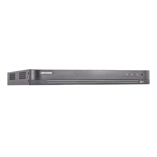 DVR Hybrid 16 CH self-adaptive HDTVI  3MP  /AHD 2MP / HD CVI 2MP/IP/CVBS, accetta fino a 8 telecamera IP a 6MP, Fino a 24 canali. risoluzione analogica TVI fino a  3MP@15Fps/2MP Lite@25Fps, compressione video H.265+/H.265/H.264+/H.264, uscita video HDMI (4k) - VGA - CVBS, I/O audio 1/1, I/O Allarmi 16/4. 1 RJ45 10M/100M/1000M, protocolli di rete TCP/IP, PPPoE, DHCP, Hik-Connect, DNS, DDNS, NTP, SADP, NFS, iSCSI, UPnP, HTTPS, ONVIF. Supporta controllo PTZ via Omnicat, sino a 128 connessioni simultanee, supporta accesso a Hik-Connect. 2 HDD sata fino a  10TB , 2 porte USB 2.0 1 USB 3.0, 1 RS485 ,alimentazione 12VDC, temperatura di funzionamento -10 °C to +55 °C, assorbimento 25W. Dati Up to coax, Regole SMART:Intrusion detection, line crossing detection, VQD. Playback sincronizzato 16ch.</br>1HDD DA 2TB INCLUSO (SPECIFICO PER APPLICAZIONI DI VIDEOSORVEGLIANZA)</br>