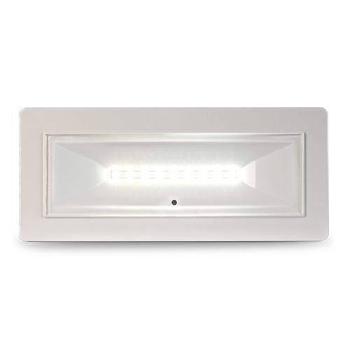 Lampade di illuminazione di emergenza con  supervisione da Bus serie DIVA</br>Potenza 18W.</br>MED. FL (SE) 320 (SA) 180 (lm).</br>Durata 1h. Batteria LiFePO4 3,2V@1,5Ah.</br>Permanente (SA). IP42.</br>