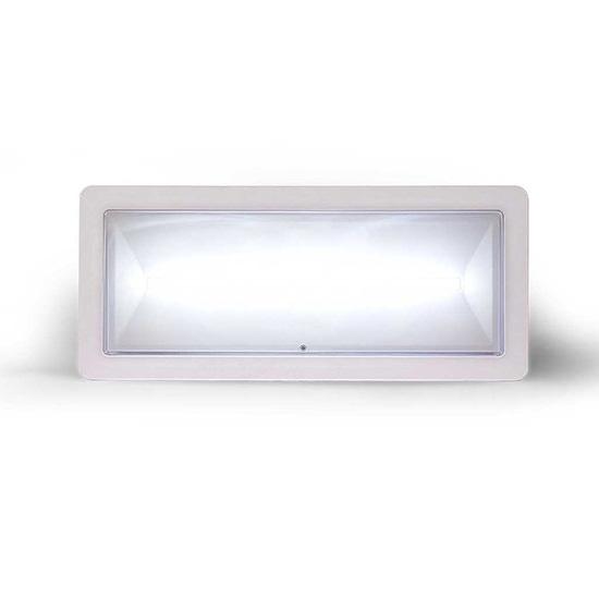 Lampada di illuminazione di emergenza ad alto flusso di tipo autotest serie </br>DEXIA.</br>Potenza 24W. MED. FL (SE) 700-550-450-350 (SA) 550 (lm)</br>Durata 1h - 1.5h - 2h - 3h</br>Batteria LiFePO4 3,2V@3,3Ah</br>Permanente (SA)</br>IP42</br>