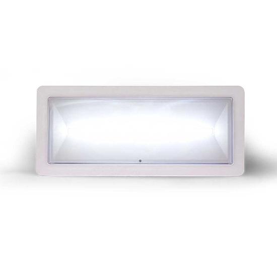 Lampada di illuminazione di emergenza ad alto flusso con supervisione da BUS </br>serie DEXIA</br>Potenza 24W. MED. FL (SE) 700-550-450-350 (SA) 550 (lm)</br>Durata 1h - 1.5h - 2h - 3h</br>Batteria LiFePO4 3,2V@3,3Ah. Permanente (SA)</br>IP42</br>