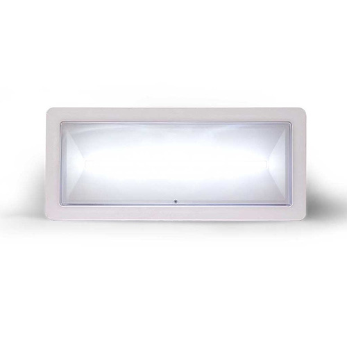 Lampada di illuminazione di emergenza ad alto flusso di tipo standard serie </br>DEXIA. Potenza 24W. MED. FL (SE) 700-550-450-350 (SA) 550 (lm) . Durata 1h - </br>1.5h - 2h - 3h. Batteria LiFePO4 3,2V@3,3Ah. Permanente (SA). IP42.</br>