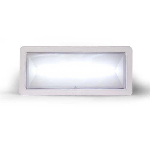 Lampada di illuminazione di emergenza ad alto flusso di tipo standard serie </br>DEXIA. Potenza 36W. MED. FL (SE) 1300-1000-840-640 (SA) 1000 (lm) . Durata 1h - </br>1.5h - 2h - 3h. 2 batterie LiFePO4 3,2V@3,3Ah. Permanente (SA). IP42.</br>